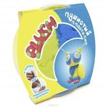 """Пушистый пластилин для детской лепки """"PLUSH"""" желто-голубой"""