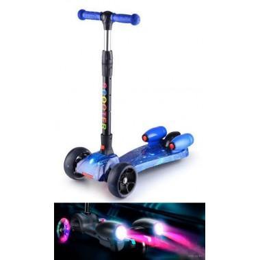 Самокат трёхколёсный Scooter с эффектами синий