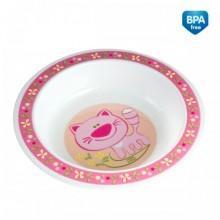Тарелка детская пластиковая глубокая (розовая)