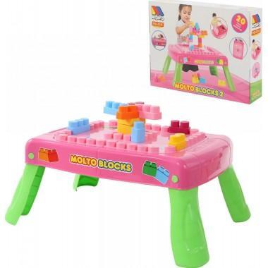 Игровой набор с конструктором с элементом вращения розовый