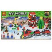 Конструктор аналог LEGO Minecraft Новогодняя железная дорога