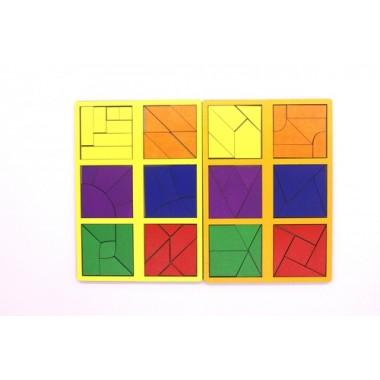 Игрушка деревянная развивающая Логическая игра Сложи Квадрат. Уровень сложности 3