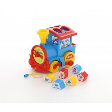 """Логический паровозик """"Смурфики"""" с 6 кубиками №2"""